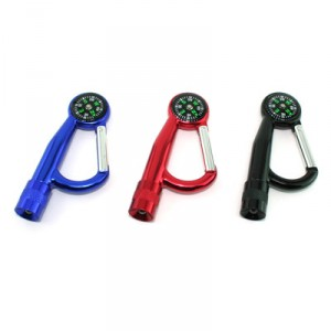 Carabiner Hook W Compass & Led Torch