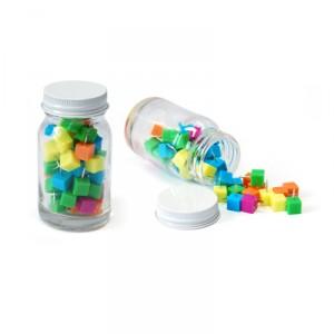 Cube Shape Push Pin in Glass Jar