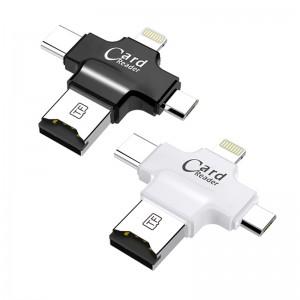 JW-U19 4 in 1 card reader Multi Function Type-c Micro USB TF Card OTG Card Reader_2